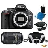 Nikon D5200 DX-Format Digital SLR Camera Body with 55-300mm VR Lens Bundle - Includes camera, 55-300mm f/4.5-5.6G ED VR AF-S DX NIKKOR Lens, Compact Deluxe Gadget Bag, Professional Wrist Grip Strap, 3pc. Lens Cleaning Kit