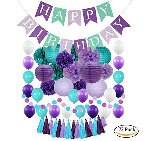 Mermaid Party Supplies - Under the Sea Decorations and Accessories Kit for Kids, Toddlers, Children and Girls Birthday, Baby Shower, Bridal Shower - 72 Pack -