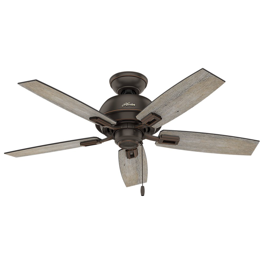 Hunter Indoor Ceiling Fan, with pull chain control – Donegan 44 inch, Onyx Bengal, 52228