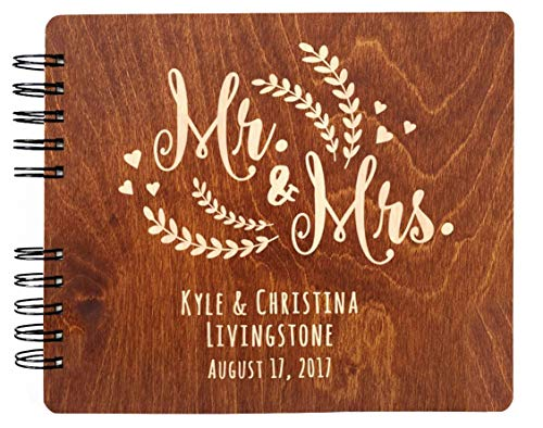 Wood Photo Album Book - Personalized Wedding Guest Book Mr Mrs Wooden Rustic Vintage Bridal Black Mahogany Oak or Cocoa Unique Wood Hardcover Finish Options