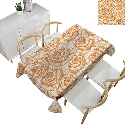 familytaste Burnt Orange,Rectangle Table Cover Cloth,Romantic Rose Bouquet in Warm Tones Valentines Day Love Flowers,Patterned Tablecloth 60
