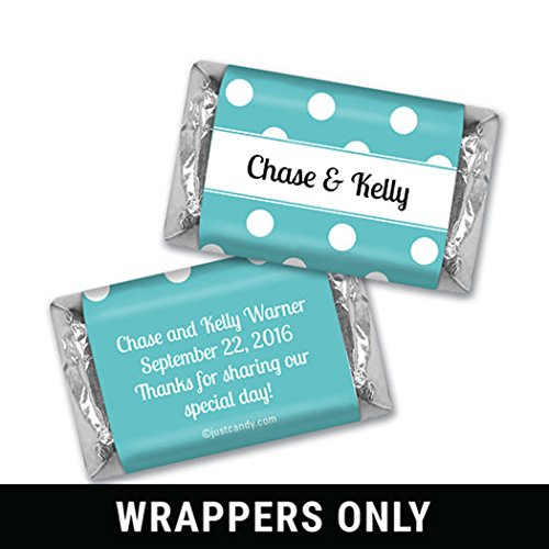 Personalized Miniature Candy Bars - Wedding Favor Personalized Hershey's Miniatures Wrappers - Polka Dots (100 Count Wrappers) Tiffany
