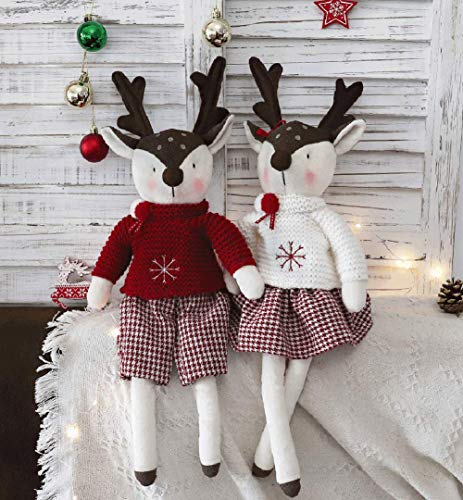 Worldeco Christmas Home Decorations Handmade Gifts Collectible Figurines, Couple Deer Knit Plush Soft Stuff Home Bedroom Decor Pair of 18 inch