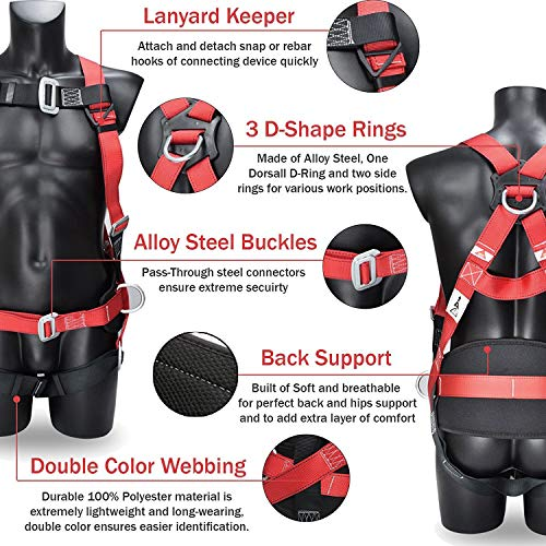 DCM Fall Protection Full Body Safety Harness Belts Kit with Single Shock Absorbing Lanyard and Concrete Anchor Cross Arm Webbing Strap for Climbing Roofing Restraint Construction Work by SUHA (Image #2)
