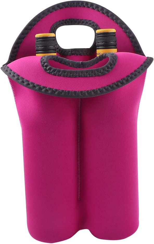 Vech Wine Carrier Tote Bag for Travel - 2 Bottle Carrying Bag Cooler - Thick Neoprene Wine Bottle Holder with Secure Carry Handle Keeps Bottles Protected, Waterproof Insulated Wine Bag (Rose Red)