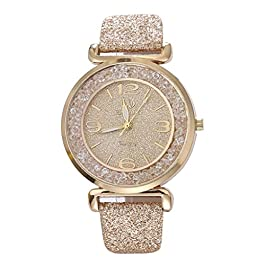 Women Crystal Quartz Watches Festiday Fashion Jewelry Watches with Dial Analogue Display Analog Alloy Quartz Wrist Watches Lady Watches Sale Clearance Female Watches Gift (Gold)