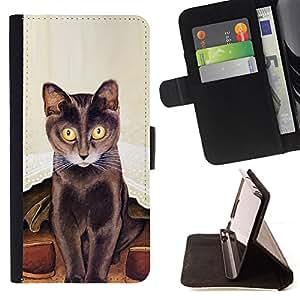 KingStore / Leather Etui en cuir / Samsung Galaxy S4 Mini i9190 / Arte del gato largo Bigotes Pintura de Brown
