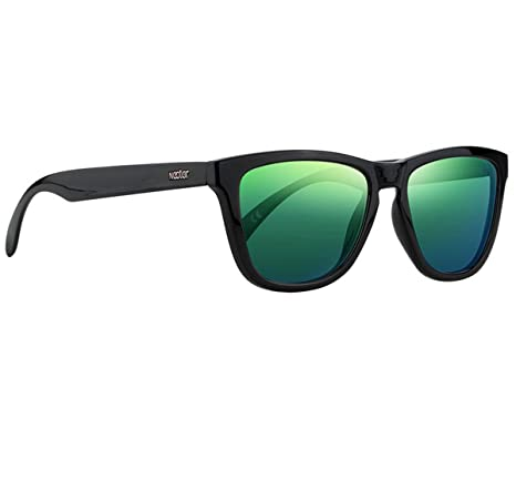 Amazon.com: Classic Black Frame Polarized Sunglasses - With Green UV ...