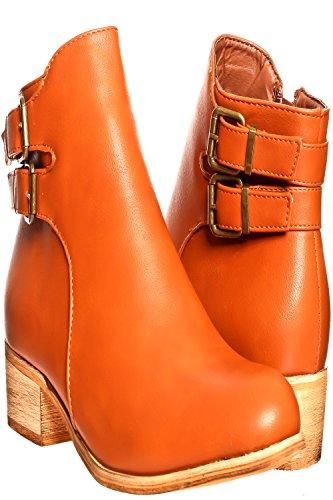 Lolli Couture Jp Materiale Scamosciato Originale Materiale Cinghie Velcro Accento Oro Sneakers Casual Con Zeppa Tan-hwxt02-b