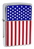 Zippo 28827 American Flag High Polish Chrome Classic Windproof Lighter NEW