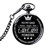 LibbyPet Pocket Watch To My Dad Gifts From Daughter to Dad for Father's Day/Birthday - Everyday Carry Present for Him (Black watch to dad)