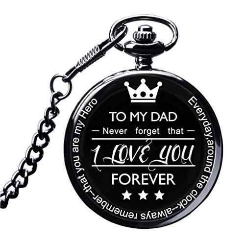 LibbyPet Pocket Watch to My Dad Gifts from Daughter to Dad for Father's Day/Birthday - Everyday Carry Present for Him (Watch to Dad -Black) (Best Dad Presents 2019)