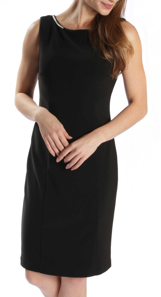 Joseph Ribkoff Black Open Back with Jewel Chain Accent Dress Style 171009 - Size 6