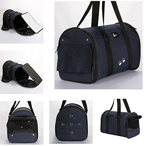 Corner Biz Pet - Portable Small Pet Dog Cat Sided Carrier Travel Tote Shoulder Bag Cage House Color Blue Size M