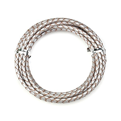 Linsoir Beads Silver Round Genuine Braided Leather Cord Bolo Tie Cording For Necklace Bracelet Jewelry Making 3 mm Diameter 2 Meter Roll