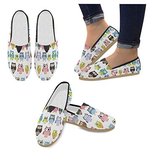 Interestprint Mujeres Loafers Classic Casual Slip De Lona En Los Zapatos De Moda Zapatillas Mary Jane Flats Dibujos Animados De Búhos