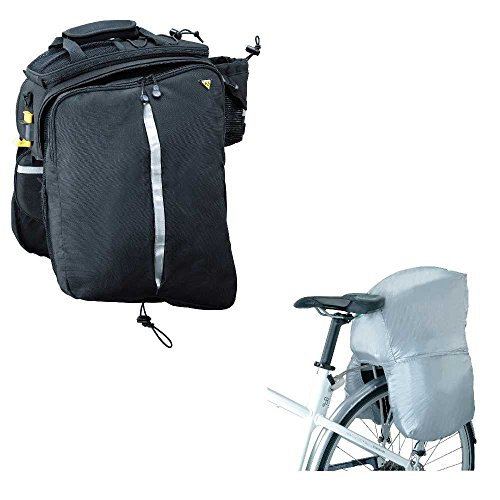 Topeak Hook-and-Loop Strap Version DXP Bike Trunk Bag with Rigid Molded Panels Pannier Rain Cover