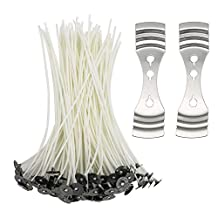 """HaoTrend 100 Piece 15cm/6"""" Natural Low Smoke Candle Wick For Candle Making, Candle DIY"""