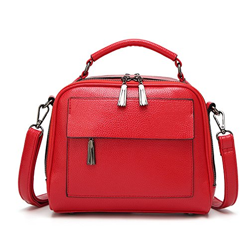 Borsa Tracolla Moda Borsa A Quadrata Retrò Red Casual Piccola Borse Borse Donna 0w4qtzX