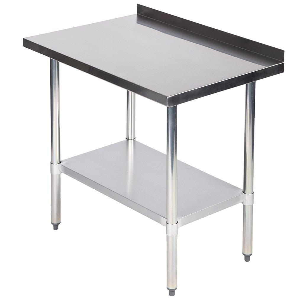 24''x36''Stainless Steel Work Table w/Backsplash Kitchen Restaurant Table