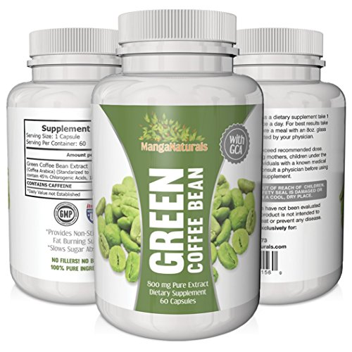 Pure Green Coffee Bean Extract 800 with GCA Natural Weight Loss Supplement Formulated Especially For Launching Your Green Coffee Bean Diet - Premium Quality