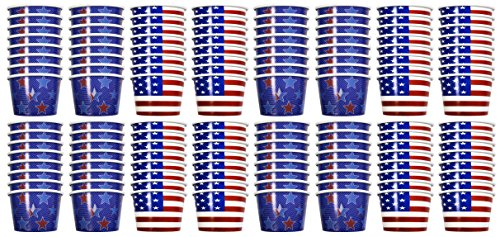Set of 128 Patriotic Party Treat Cups! 8 Oz - American Flag - Stars and Stripes - Patriotic Party Cups Perfect for Candy, Ice Cream, Slushies, Soup, Food, Dips, Drinks, and More! (128)
