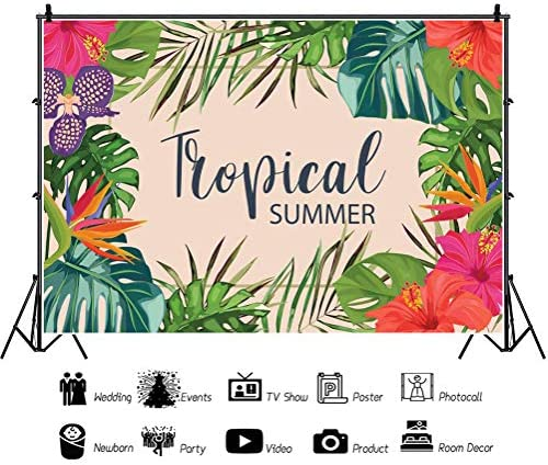 Watercolor Flower 8x10 FT Photo Backdrops,Tropical Wild Orchid Flowers with Palm Leaves Print Exotic Style Nature Background for Baby Birthday Party Wedding Vinyl Studio Props Photography Multicolor