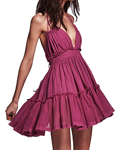 (R.Vivimos Womens Summer Halter Deep V Neck Sexy Patchwork Mini Short Dresses Small Fuchsia)