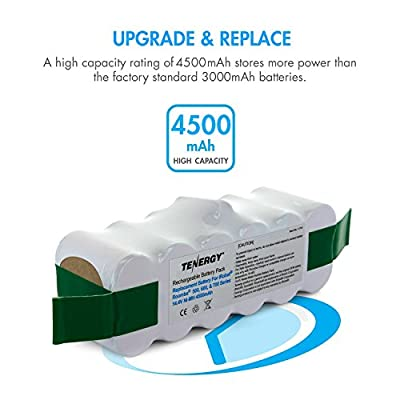 Tenergy iRobot Roomba Battery 4500mAh Replacement NiMH Battery for Roomba 500, 550, 560, 580, 600, 614, 630, 650, 660, 700, 770, 800, 880, 900, 980 Series and More