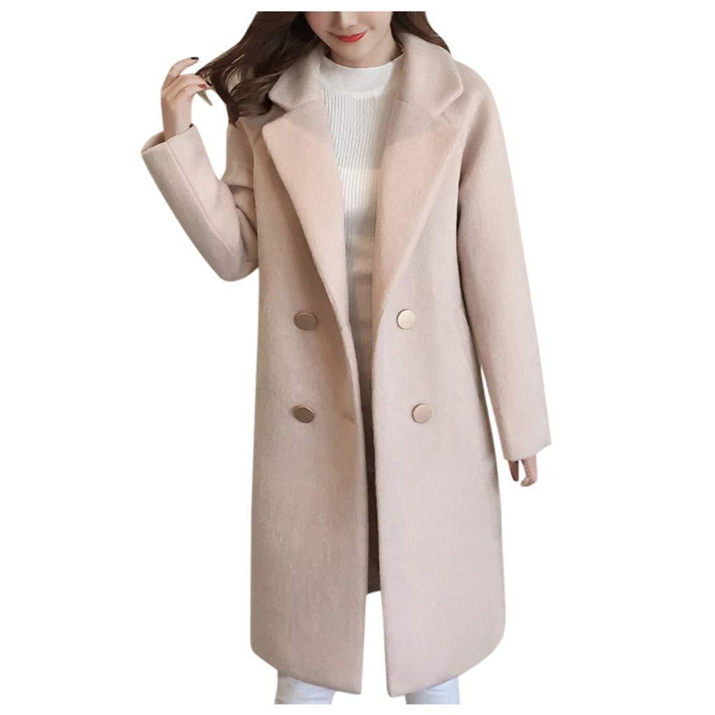 TUU Women Solid Vintage Winter Long Sleeve Button Pocket Woolen Slim Long Jacket Coat Beige by TUU-2019 New Coat