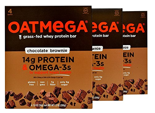 Oatmega - Grass-Fed Whey Protein Bars, 4 Count (Pack of 3) (Chocolate Brownie)