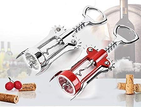 Faneli - Sacacorchos con palanca, multifunción, para botellas de vino, abrebotellas de aleación de cinc, color rojo