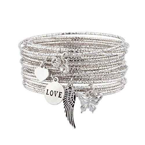 Sterling Silver Butterfly Watch - Lux Accessories Silver tone Love Charm Bangle Set