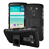 For LG G3 (D855 D852) Case Protective Cases Protect Cell Phone Protection Cover Hybrid Duty Dual Layer Shell Rugged Armor Stand Impact Shockproof Hard PC and TPU Soft Silica Gel Black