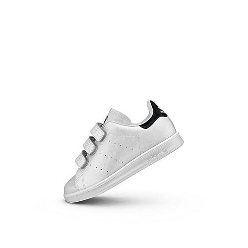 3c99433de7f18 Adidas - Adidas Stan Smith CF C Scarpe Sportive Bambino Bianche Pelle  Strappo S78754 - Bianco