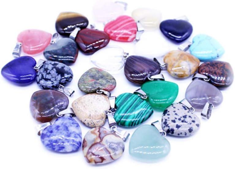 HEALLILY cuentas de piedra natural corazón colgante chakra encantos curación cristales para diy collar joyería haciendo 16mm 20pcs 20 Color aleatorio