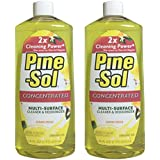 Pine Sol Concentrated Multi-Surface Cleaner and Deodorizer, Lemon Fresh Scent, 2 Count, 32 oz Total (Packaging May Vary)