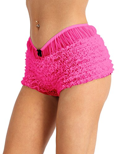 dPois Womens Sexy Ruffled Lace Panties Bloomers Sissy Knickers Shorts Hot Pink One Size(Waist: 56-72cm / 22.0-28.0'')
