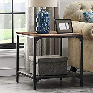 HOMYSHOPY 21.7 Square End Table with Storage Shelf, Industrial Side Tables Living Room, Vintage Brown, 1-PC