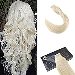 Ugeat 18 inch Tape in Remy Hair Extensions Skin Weft Real Hair Extensions Solid Color Platinum Blonde Human Hair Seamless Tape on Extensions 40pcs/100g