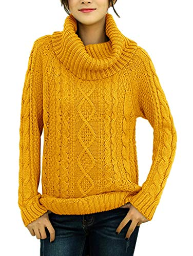 v28 Women's Korean Design Turtle Cowl Neck Ribbed Cable Knit Long Sweater Jumper (Mustard,L)