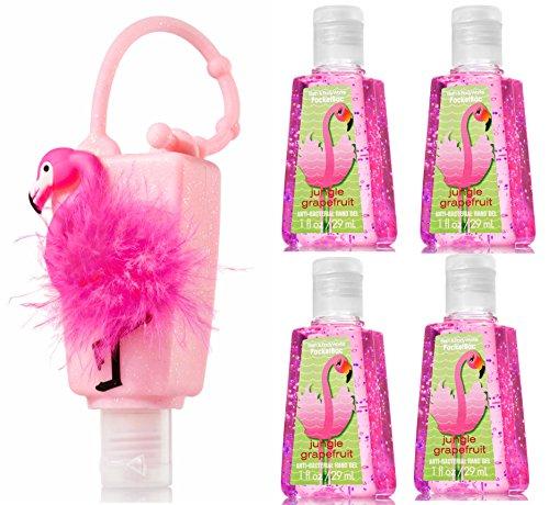 Bath & Body Works PocketBac Hand Sanitizer Flamingo Jungle Grapefruit & Holder 5pc Bundle