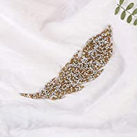 Thermal Transfer Clothing Accessories Leaves Rhinestone Patches Hotfix
