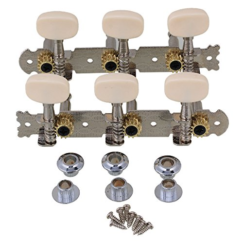 Yibuy Silver Classical Guitar Tuning Pegs 3L3R Tuning Key Machine Heads White Button Pack of (Tuning Machine Button)