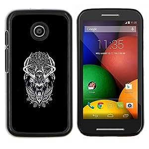 LECELL--Funda protectora / Cubierta / Piel For Motorola Moto E -- Modelo tribal Sueño del lobo del hombre lobo --