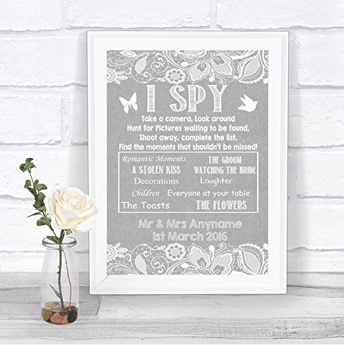 Grey Burlap Lace Effect I Spy Disposable Camera Photos Personalized Wedding Sign Hearts Disposable Wedding Cameras