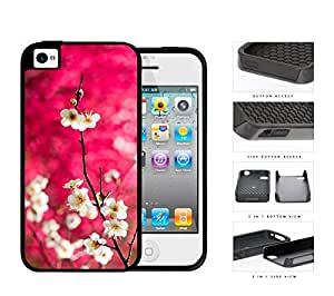Dark Pink Background White Cherry Blossom Flowers iPhone 4 4s (2-piece) Dual Layer High Impact Cell Phone Case