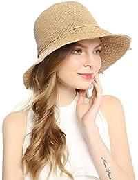 Floppy Sun Beach Straw Hat - Women Adjustable Wide Brim Fedora Cap UPF50+