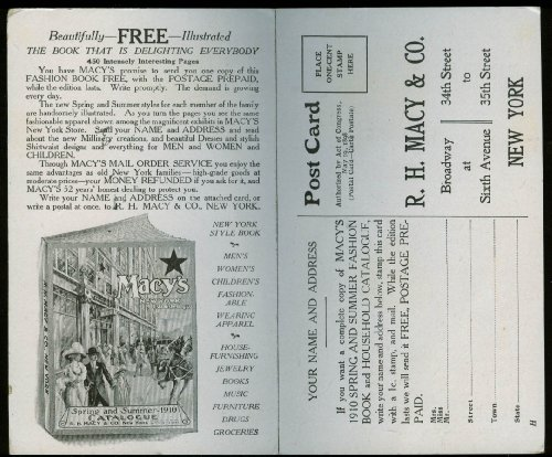 Send a copy of Macy's Fashion Book Catalog order postcard / reply 1910 New - Order Macys