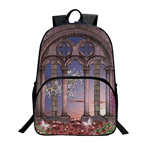 - Gothic Fashionable Backpack,Ancient Colonnade in Secret Garden with Flowers at Sunset Enchanted Forest for Boys,11.8